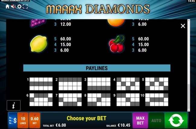 Maaax Diamonds :: Paylines 1-10