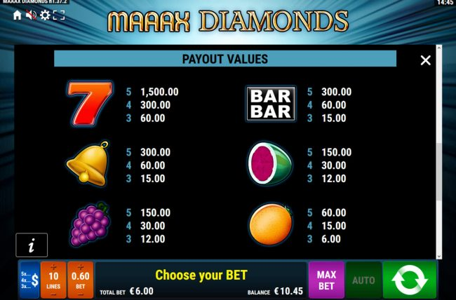Maaax Diamonds :: Paytable