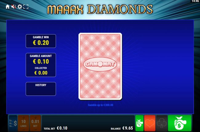 Maaax Diamonds :: Card Gamble Feature Game Board
