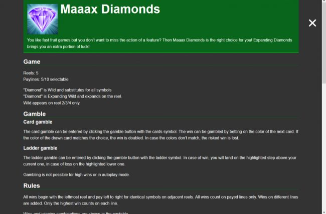 Maaax Diamonds :: General Game Rules
