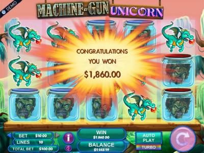 A $1, 860.00 payout awarded for the destroying all the zombie-head symbols onthe screen.