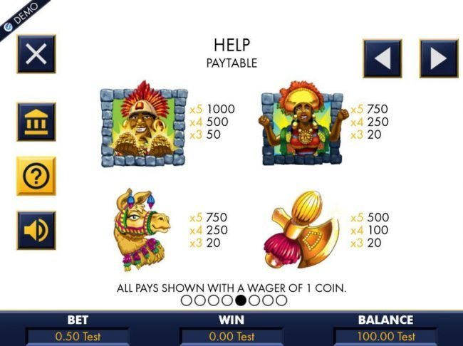 Play Hippo featuring the Video Slots Machu Picchu Gold with a maximum payout of $10