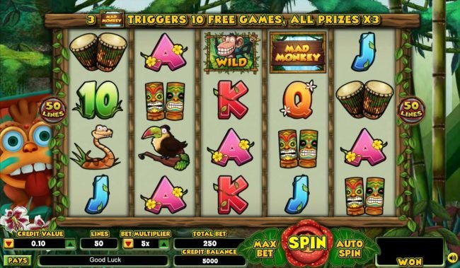 Prime Slots featuring the Video Slots Mad Monkey with a maximum payout of $62,500