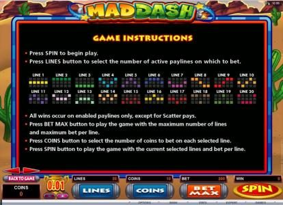 Mad Dash :: Game Instructions and Payline Diagrams
