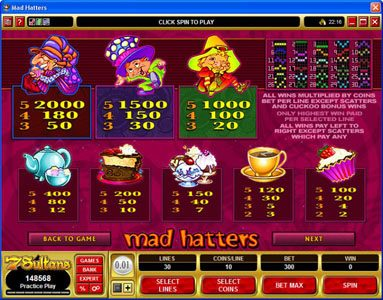 Jackpot City featuring the Video Slots Mad Hatters with a maximum payout of $50,000