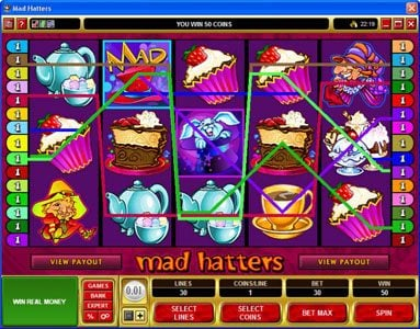 Money Reels featuring the Video Slots Mad Hatters with a maximum payout of $50,000