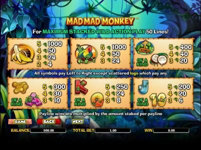 Moon Games featuring the Video Slots Mad Mad Monkey with a maximum payout of $5,000