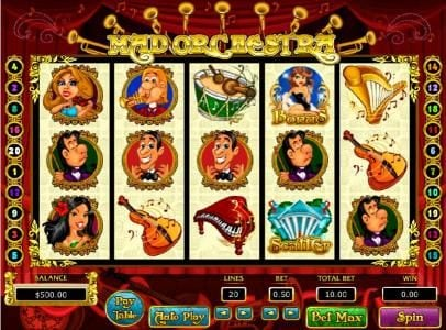 Play slots at Tangiers: Tangiers featuring the Video Slots Mad Orchestra with a maximum payout of $25,000