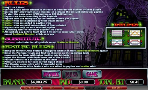 Fruity Vegas featuring the video-Slots Mad Professor with a maximum payout of 5,000x
