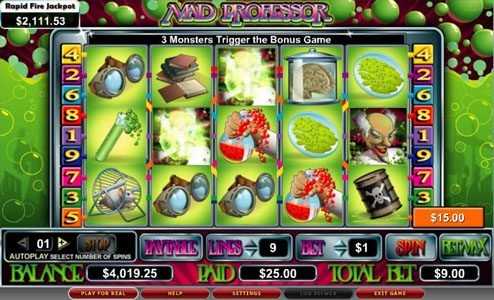 Rizk featuring the video-Slots Mad Professor with a maximum payout of 5,000x
