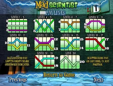 Vegas Days featuring the Video Slots Mad Scientist with a maximum payout of $5,000