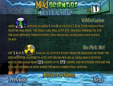 Lock featuring the Video Slots Mad Scientist with a maximum payout of $5,000