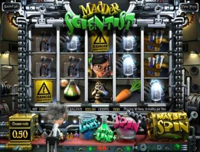 BetOnline featuring the Video Slots Madder Scientist with a maximum payout of $1,250