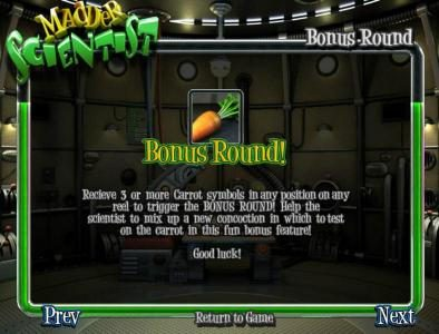 Fruity Casa featuring the Video Slots Madder Scientist with a maximum payout of $1,250