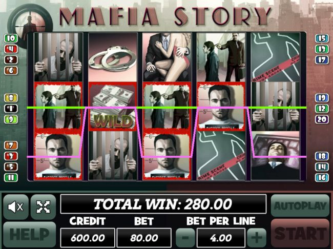 Venetian featuring the Video Slots Mafia Story with a maximum payout of $24,000