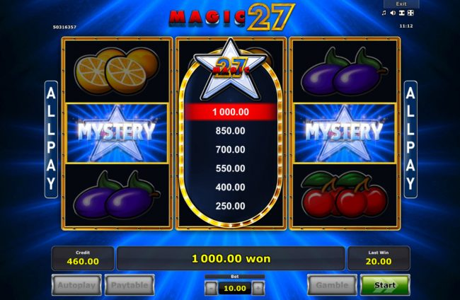 Bonus pays out a 1000 coin win