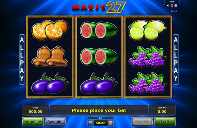 AC Casino featuring the Video Slots Magic 27 with a maximum payout of $25,000