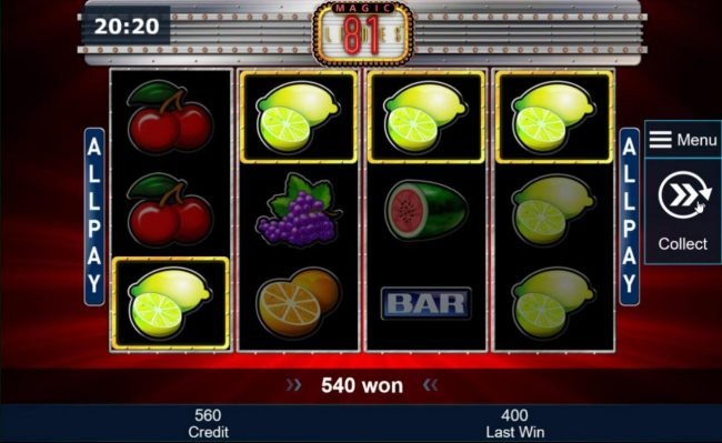 Multiple winning combinations leads to an 540 coin jackpot.