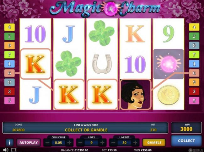 Play 24 Bet featuring the Video Slots Magic Charm with a maximum payout of $675,000