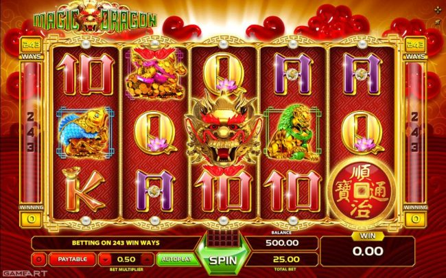 Vegas Crest featuring the Video Slots Magic Dragon with a maximum payout of $1,250