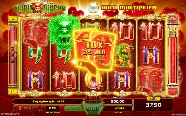 Play slots at Lapalingo: Lapalingo featuring the Video Slots Magic Dragon with a maximum payout of $1,250