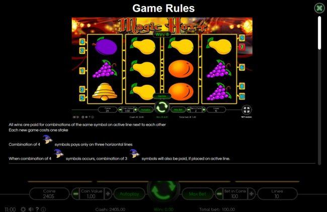 Magic Hot 4 :: General Game Rules