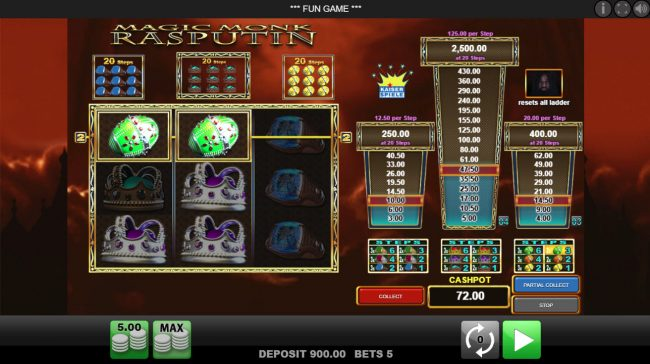 EU Casino featuring the Video Slots Magic Monk Rasputin with a maximum payout of $2,500