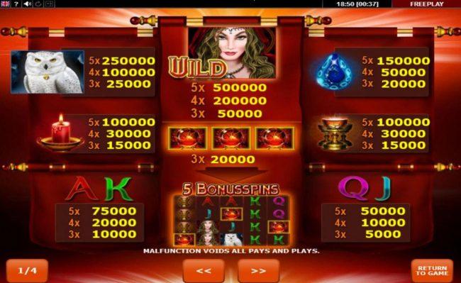 Magic Owl :: Paytable