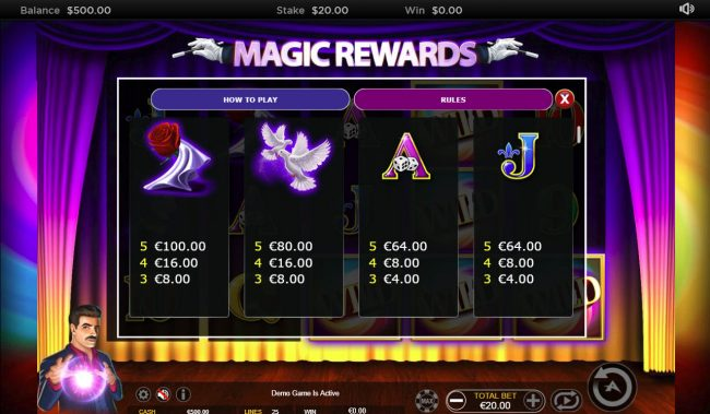 Zet Casino featuring the Video Slots Magic Rewards with a maximum payout of $20,000