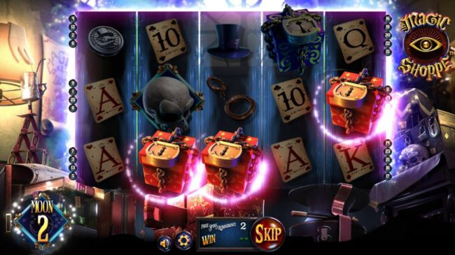 Magic Shoppe :: Three sun boxes anywhere on the reels triggers the Sun Free Spins feature.