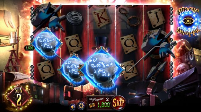 Ab 1800 coin payout triggered by 3 skull symbols during the free spins feature.