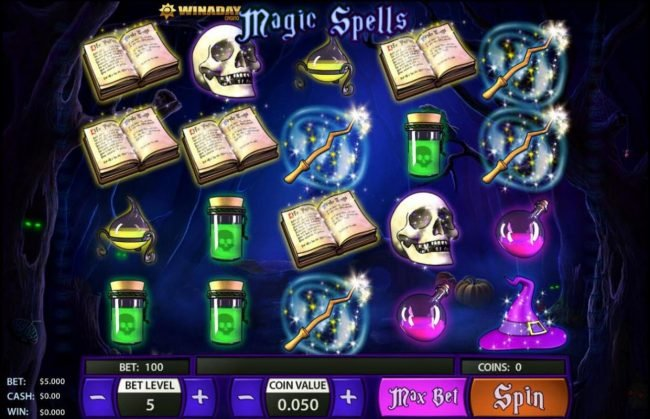 Crypto Slots featuring the Video Slots Magic Spell with a maximum payout of $125