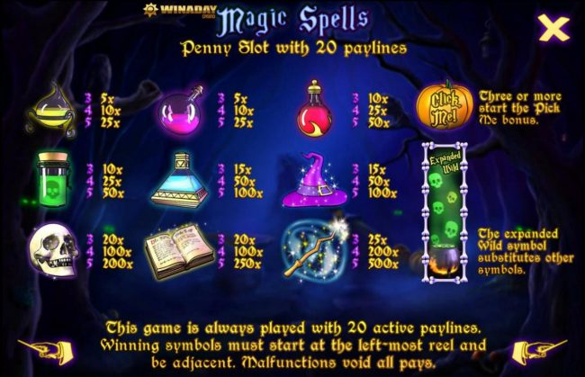Winaday featuring the Video Slots Magic Spell with a maximum payout of $125