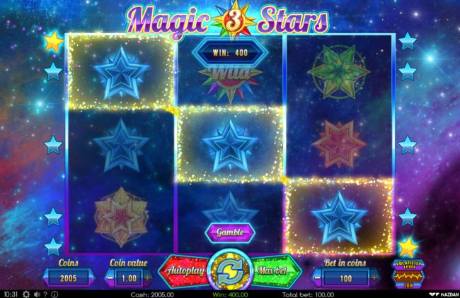 Go Wild featuring the Video Slots Magic Stars 3 with a maximum payout of $20,000