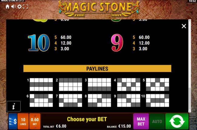 Magic Stone :: Paylines 1-10