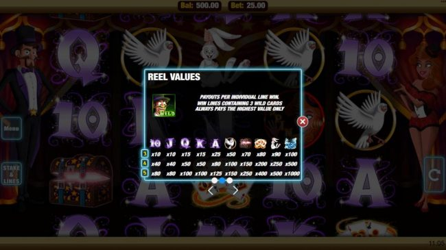 Mobireels featuring the Video Slots Magic Touch with a maximum payout of $25,000