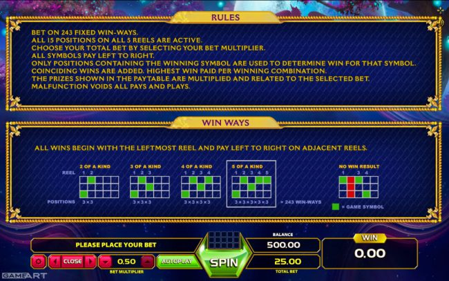 NordiCasino featuring the Video Slots Magic Unicorn with a maximum payout of $1,250