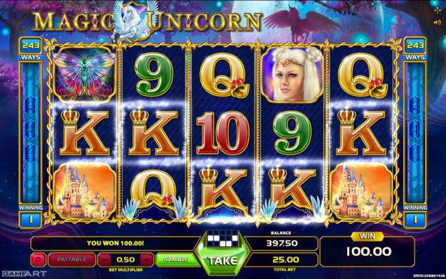 X-Bet featuring the Video Slots Magic Unicorn with a maximum payout of $1,250