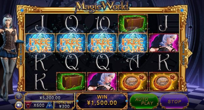 Magic World :: Scatter win triggers the free spins feature