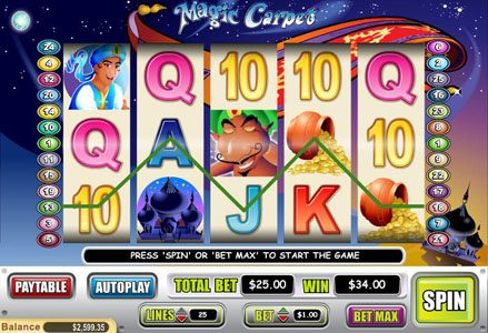 Liberty Slots featuring the Video Slots Magic Carpet with a maximum payout of $40,000