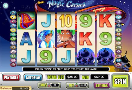 Miami Club featuring the Video Slots Magic Carpet with a maximum payout of $40,000