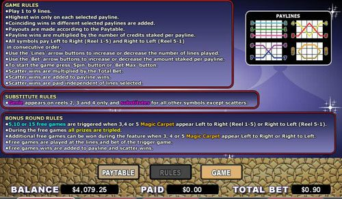 Spintropolis featuring the video-Slots Magic Carpet with a maximum payout of 4,000x