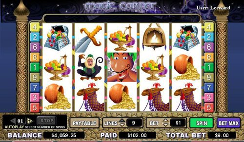 Malina featuring the video-Slots Magic Carpet with a maximum payout of 4,000x