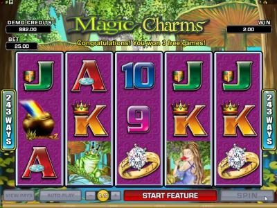 Jackpot Knights featuring the Video Slots Magic Charms with a maximum payout of $1,200