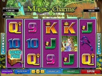 Kerching featuring the Video Slots Magic Charms with a maximum payout of $1,200