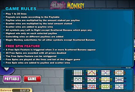Miami Club featuring the Video Slots Magic Monkey with a maximum payout of $60,000