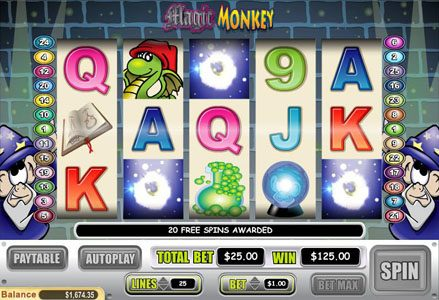 Liberty Slots featuring the Video Slots Magic Monkey with a maximum payout of $60,000