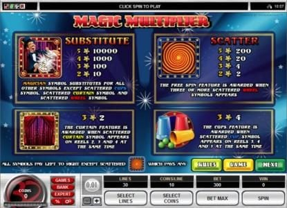 Colosseum featuring the Video Slots Magic Multiplier with a maximum payout of $1,000