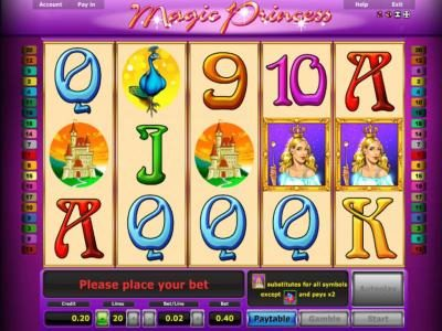 Magic Princess :: Main game board featuring five reels and 20 paylines with a $10,000 max payout