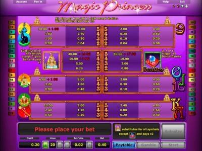 Magic Princess :: Slot game symbols paytable
